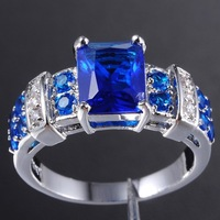 Band New Blue Tanzanite 10KT White Gold Filled Ring for Men/Women