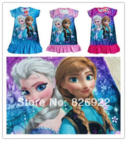 1pcs retail and wholesale NEW 2014 Girls frozen O-Neck Pretty cute Short sleeve Elsa Anna Dress
