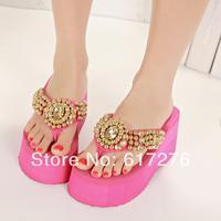 Handmade beaded 2014 new sweet summer platform ultra high heels wedges flip flops sandals girls shoes
