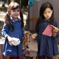 2014 spring cherry rabbit embroidered girls clothing child long-sleeve dress qz-1577
