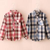 2014 spring classic plaid boys clothing girls clothing child long-sleeve shirt tx-3026