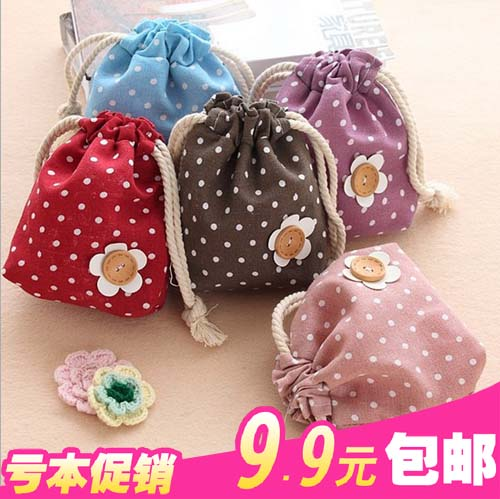Bountyless 9.9 small storage bag small change bag gunnysack small cosmetics storage bag(China (Mainland))