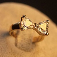 Sweet princess jewelry elegant zircon bow butterfly ring women finger ring gold plated 065