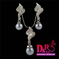 Daren 2 pieces jewelry sets wholesale long S style  pearl  pendant necklace and stud earrings Jewelry Sets DST014