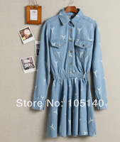 2014 Spring Summer women jeans dress retro street cross Eiffel Tower printed long sleeved high waist denim dress free shipping