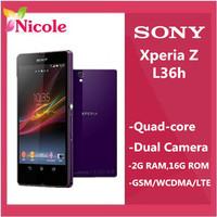"L36h Original Sony Xperia Z L36h LT36h L36i C6603 13.1MP camera Quad-Core 5.0""TouchScreen 16GB Phone Refurbished Free Shipping"