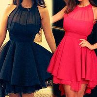 Fashion Women Spring 2014 New Black/Rose Chiffon Mini Cute Dress Plus Size Women Clothing Dress Party Evening Elegant