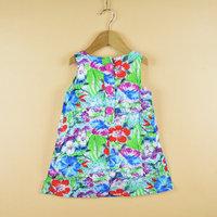 2014 girl dress fashion flower painting dresses100% cotton baby floral children dress wholesale 6pcs/lot free shipping