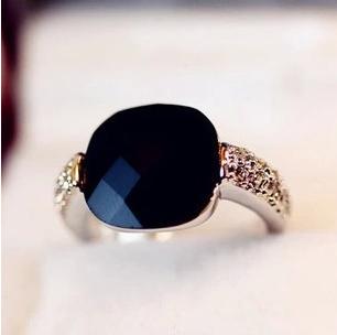 2014 New HOT Fashion Retro Black Agate Gem Imitation Diamond Rings For Women Wholesale XY R196