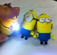 Wholesale 5.5 * 3.5 Cm Cartoon Key Chain Despicable Me Sound Emitting IC Keychain LED Flashlight Accessories 10 Pcs/Lot