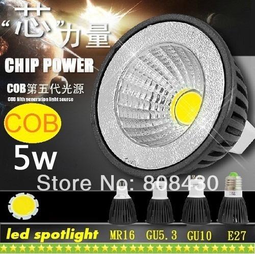 CE ROHS CSA CUL + High Power COB GU10 5W Led Bulbs Light PAR16 E27 E26 E14 GU5.3 Warm/Natural/Cool White Led Downlight 110-240V(China (Mainland))