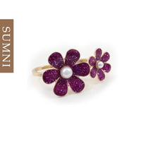 Ring female summer purple flower double finger ring fashion vintage fashion gentlewomen