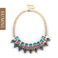 Fashion luxury royal quality bling short design gold necklace