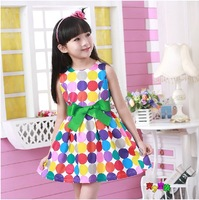 New spring 2014 Casual girl dress Child One-piece dress multicolour 100% cotton woven navy princess dress Children's clothing