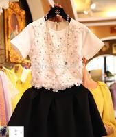 Free Shipping 3034 Three-dimensional Flower Beading Short-sleeve Puff half-length Skirt Summer twinset