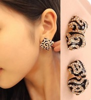 2014 New Fashion Jewelry women European and American retro style Heart Earrings Leopard Crystal Plated Wholesale