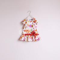fashion girl m-cati1401 flower back button short-sleeve one-piece dress