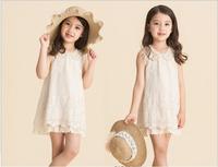 Free Shipping 2014 New Style Children Summer Lace Clothing girls Princess Sleeveless dress Soft Cotton