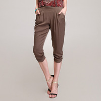2014 women's mulberry silk mid waist casual silk trousers harem pants k662