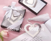 Wholesale - Love Story Silver Heart Bookmark Tassel Wedding Favors,100pcs/lot Free Shipping