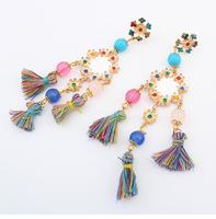 Free shipping brincos nacionais 2014 summer national luxurious jewel drop earrings fashion popular colorful earrings for women