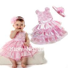 2014 New Rose Garden Pink Rosette Silk Dress Easter Flower Baby Girl Wedding New +headband(China (Mainland))