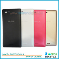 for Sony Xperia J St26i St26 back cover back housing back glass panel, black or white or pink or golden,Free shipping