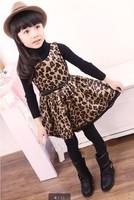 2014 Spring girl's leopard summer dress children princess dresses children's clothing Fashion print tank dress belt slim waist