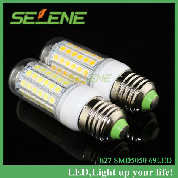 10pcs/lot 69 leds smd 5050 15w e27 led 220v maíz bombilla de la lámpara, blanco cálido/blanco, 5050 smd led de iluminación de la lámpara de envío gratis