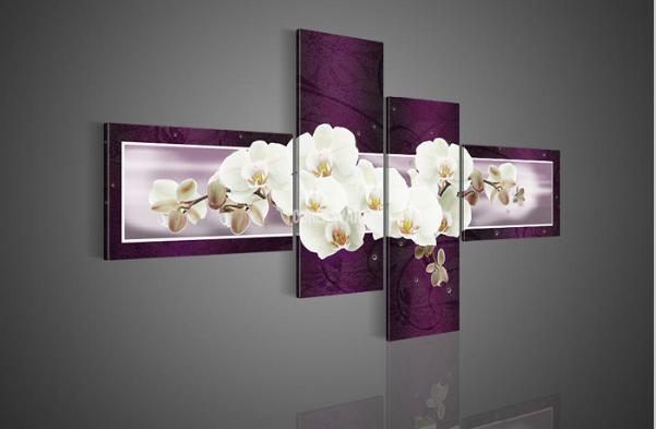 Piece wall art no framed modern abstract acrylic flower purple font