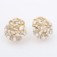 Free shipping pendientes de clip hot sale exquisite beautiful flower earrings 2014 summer women rhinestone rose clip earrings