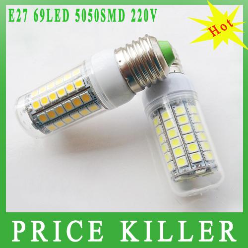 1pcs/lot 15W E27 5050 SMD 69leds LED Corn Lighting Bulb Lamp 200-230V Warm White or White light lamp free shipping(China (Mainland))