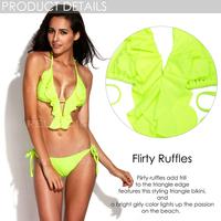 push up bikini set 2014 New Arrivals RELLECIGA Solid Neon Green Full-Lined Ruffle Triangle Top with Brazilian Cut Butt Bikini