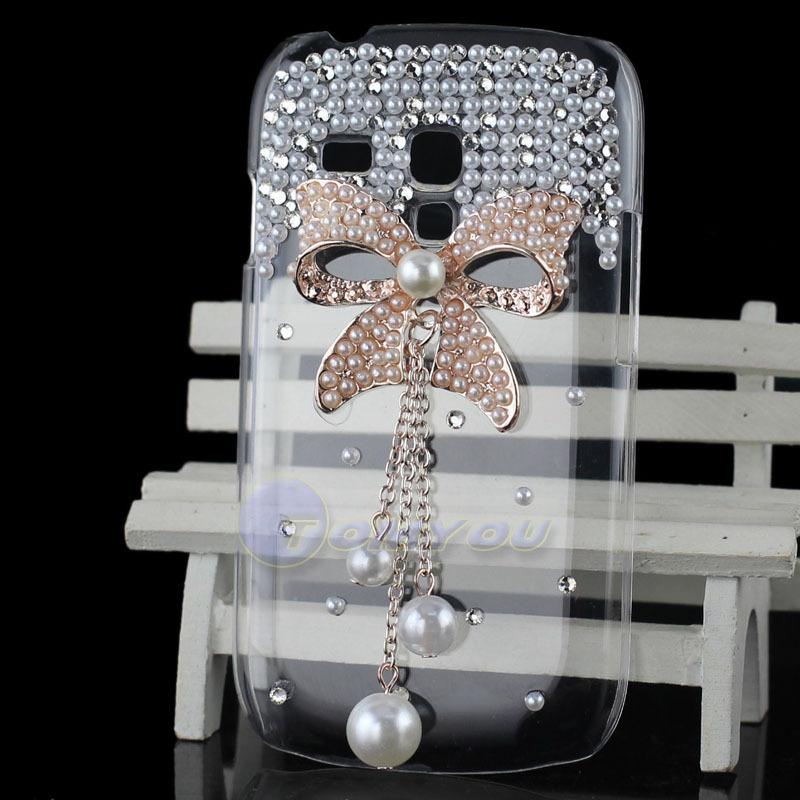 Bling Crystal Rhinestones Heart Flower Cover Swarovski Diamond Case PC Skin For Samsung GALAXY SIII Mini i8190 Phone cases(China (Mainland))
