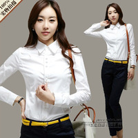 body 2014 spring and autumn women's shirt slim female long-sleeve slim waist brief ol professional white formal shirt  blouse