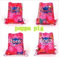Free shipping 40pcs/LOT peppa pig+George pig  Cartoon Drawstring Backpack Bag ,Children Kids Bag 34X27CM,schoobag,party gift