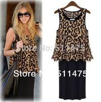 New 2014 women's  Leopard print summer dresses,Fashion Women o-neck sleeveless tank Long two piece plus size M,L,XL