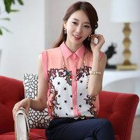 2014 Women'S Turn-Down Collar Sleeveless Chiffon Shirt All-Match Print Vest Basic Women'S Shirt