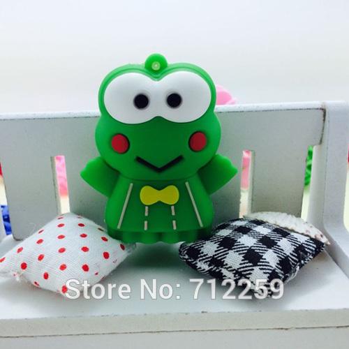 Free shipping+drop shipping! 100% New cartoon green frog usb 2.0 memory stick thumb pen drive Hot sale(China (Mainland))