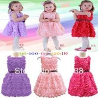 (1pieces/lot)Children's dresses girls bowknot belt dress girl's rose flower dress princess dress summer pink