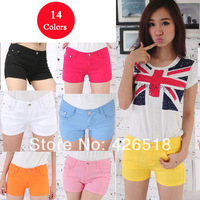 Size 26-31 Wholesale Free shipping 2014 women summer denim short Candy color Sexy hot Clubwear short pants Beach Jeans shorts