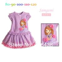 (5pieces/lot)Children's dresses girls SOFIA jacquard purple dress girl's Flowers dress princess dress summer