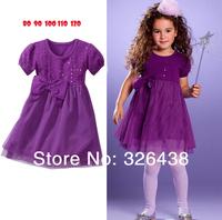 (5pieces/lot)Children's dresses girls purple bowknot dress girl's Net yarn dress princess dress summer