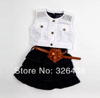 (1pieces/lot)Children's dresses girls flower belt dress navy restoring ancient ways cowboy dress with coat 2 piece set summer A