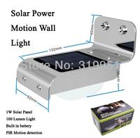 1x led Solar Power Motion Sensor LED Light,light Detector,PIR Sensor,IP65 Waterproof Outdoor Garden Security Light,Free Shipping