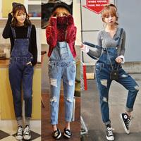 Fashion street denim bib pants women's jeans spaghetti strap pants slim jeans