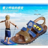 Free shipping new 2014 summer male child sandals cowhide open toe sandals baby  sandals boys shoes