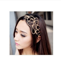 Min order is $10(mix order) Europe Openwork Flower Ribbon Golden Ribbon Hair Accessories Headbands hairband hairwear women TS060