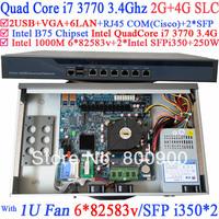 firewall appliance 1U Network ROS with two SFP intel i350 six 82583v Gigabit lan Intel Quad-Core i7 3770 3.4Ghz  2G RAM 4G SLC