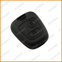 free shipping peugeot 307 2 buttons remote key fob case for car key  no logo put HU83 NE78 VA2 blade